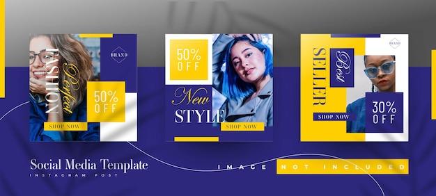 Conjunto de plantillas de publicación de instagram de venta de moda