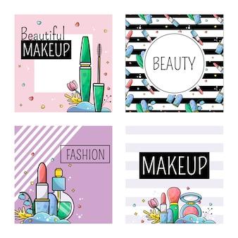Conjunto de plantillas para la publicación en maquillaje de instagram.