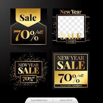Conjunto de plantillas de publicación de redes sociales de año nuevo