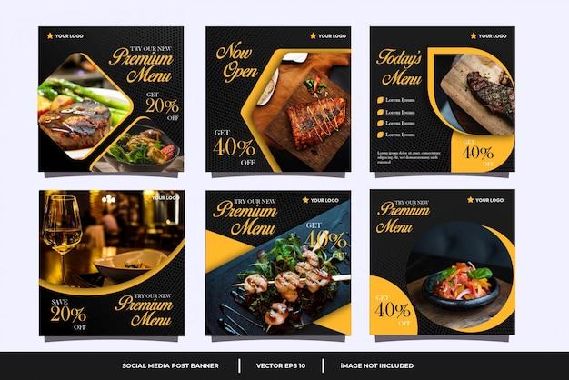 Conjunto de plantillas de publicación de redes sociales culinarias