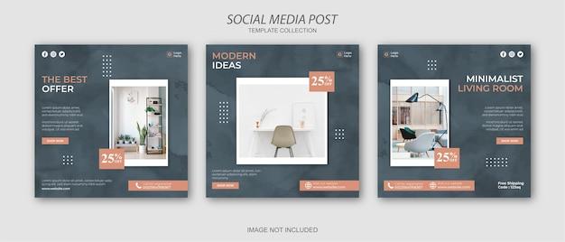 Conjunto de plantillas de publicación de redes sociales de instagram de muebles