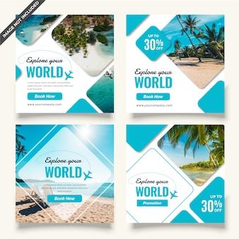 Conjunto de plantillas de publicación de redes sociales de viajes