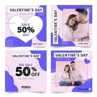 Conjunto de plantillas de publicación de venta de san valentín
