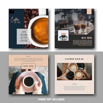 Conjunto de plantillas de publicaciones de instagram de redes sociales de bebida de cafetería minimalista simple