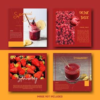 Conjunto de plantillas de publicaciones de instagram de redes sociales de bebida de jugo saludable minimalista simple