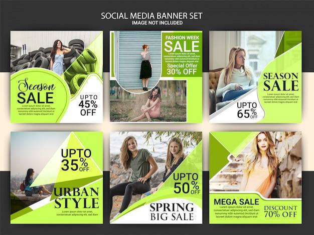 Conjunto de plantillas de publicaciones de marketing en redes sociales de moda