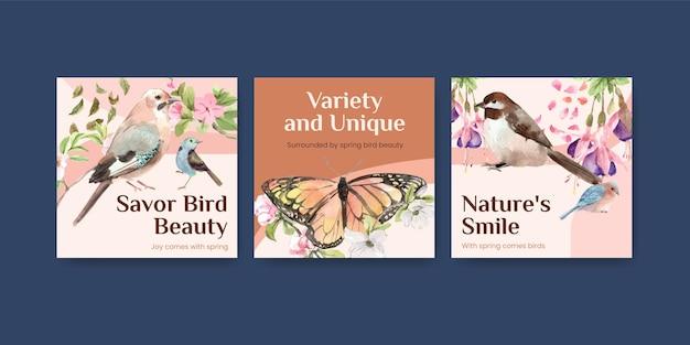 Conjunto de plantillas de publicidad con aves y concepto de primavera