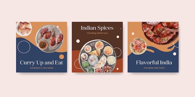 Conjunto de plantillas de publicidad con comida india