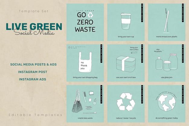 Conjunto de plantillas de redes sociales verdes en vivo