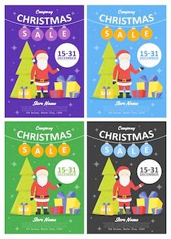 Conjunto de plantillas de sitio web de vacaciones de venta. ilustraciones de navidad y año nuevo