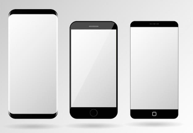 Conjunto de plantillas de smartphone vector de maqueta de pantalla de teléfonos móviles en blanco