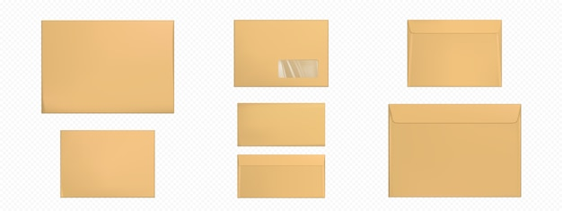 Conjunto de plantillas de sobres marrones en blanco de sobres kraft
