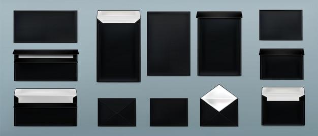 Conjunto de plantillas de sobres negros. cubiertas de papel en blanco