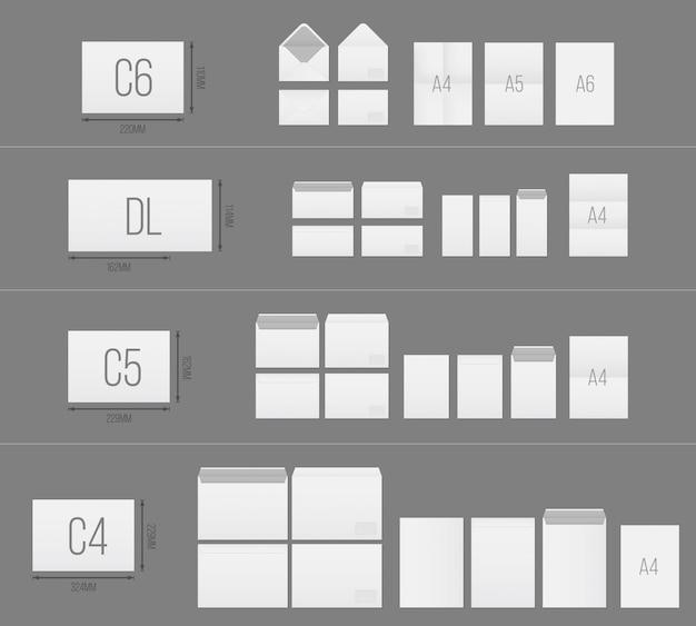 Conjunto de plantillas de sobres de papel en blanco.