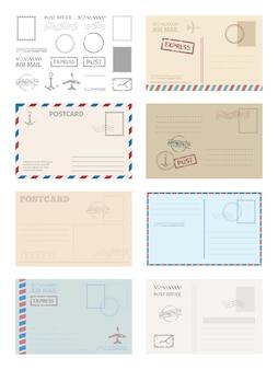 Conjunto de plantillas de sobres de postal. sellos de tarjetas de felicitación, servicios postales, marco azul rojo, entrega rápida, barcos aéreos, elegante diseño retro, plantilla gráfica en blanco vacía