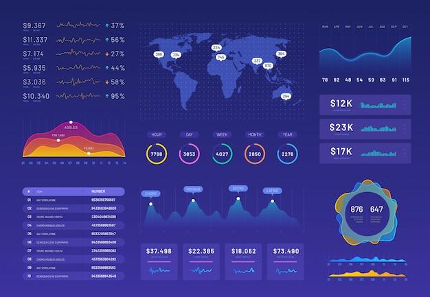 Conjunto de plantillas de tablero infográfico