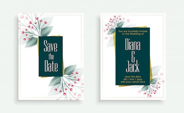 Conjunto de plantillas de tarjeta de boda de flores elegantes