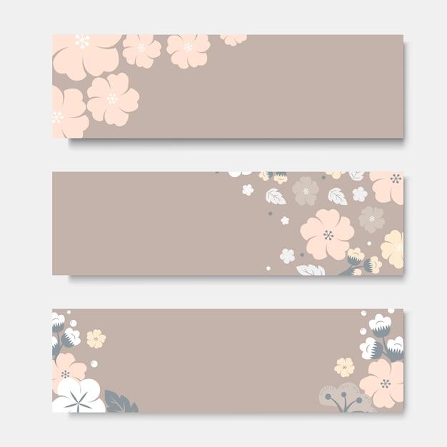 Conjunto de plantillas de tarjeta de flor colorida