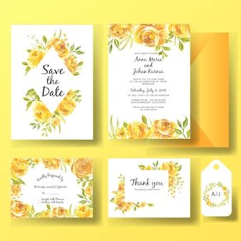 Conjunto de plantillas de tarjeta de invitación de boda de acuarela flor rosa amarilla