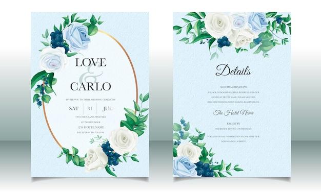 Conjunto de plantillas de tarjeta de invitación de boda hermoso marco floral
