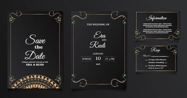 Conjunto de plantillas de tarjeta de invitación de boda de lujo