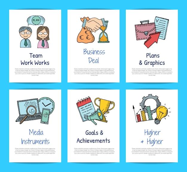 Conjunto de plantillas de tarjeta de negocios doodle iconos