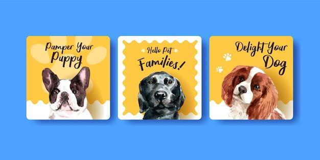 Conjunto de plantillas de tarjeta de publicidad de perro acuarela