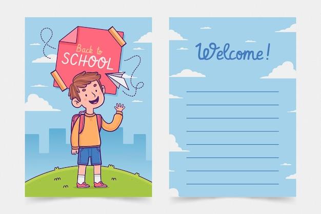 Conjunto de plantillas de tarjeta de regreso a la escuela
