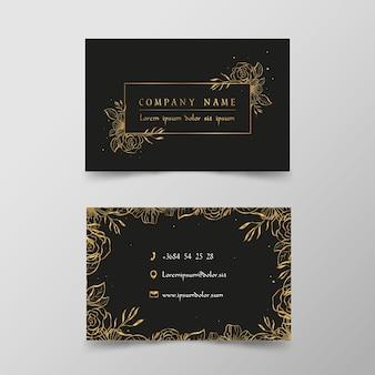 Conjunto de plantillas de tarjeta de visita floral dorada
