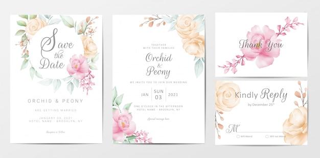 Conjunto de plantillas de tarjetas de invitación de boda de elegantes flores de acuarela