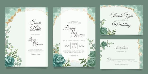 Conjunto de plantillas de tarjetas de invitación de boda floral