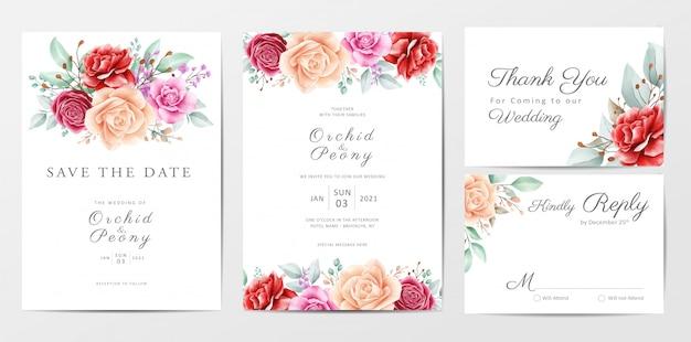 Conjunto de plantillas de tarjetas de invitación de boda hermosas flores