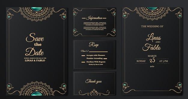 Conjunto de plantillas de tarjetas de invitación de boda de lujo de colección