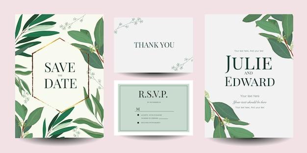 Conjunto de plantillas de tarjetas de invitación de boda.