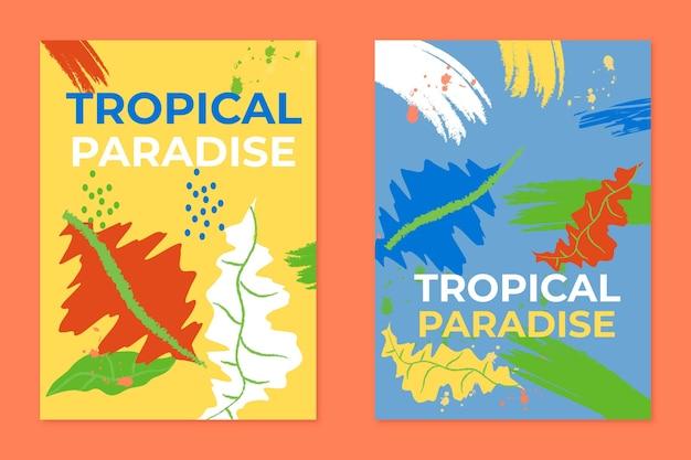 Conjunto de plantillas de tarjetas tropicales abstractas