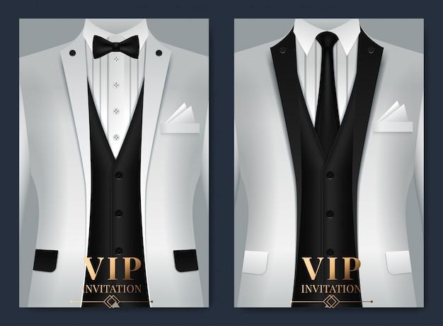 Conjunto de plantillas de tarjetas de visita con traje y esmoquin y lugar para el texto para usted