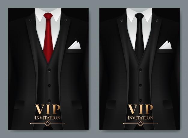 Conjunto de plantillas de tarjetas de visita con traje y esmoquin.
