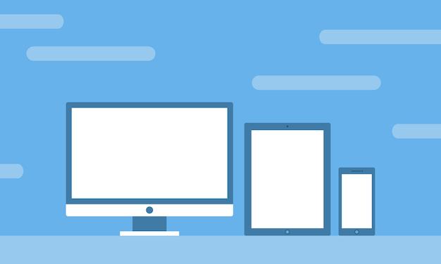 Conjunto de plantillas de todas las pantallas vista previa del dispositivo para vista previa del sitio web en diseño plano