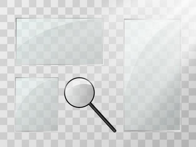 Conjunto de plantillas transparentes de vidrio de ilustración