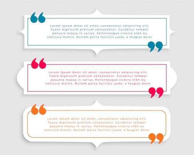 Conjunto de plantillas de tres citas de estilo vintage