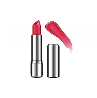 Conjunto de plantillas de tubo de lápiz labial abierto. crema labial, empaque realista plateado. muestra de color de brillo de labios