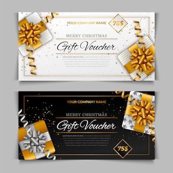 Conjunto de plantillas de vale de regalo dorado
