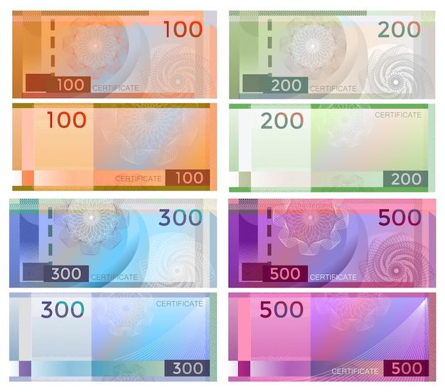 Conjunto de plantillas de vales billete con marcas de agua de patrón labrada y borde.