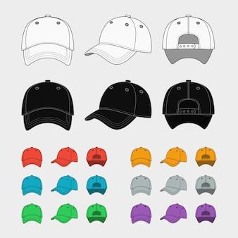 Conjunto de plantillas de vector de gorra de béisbol. moda uniforme, sombrero en blanco, diseño de ropa deportiva.