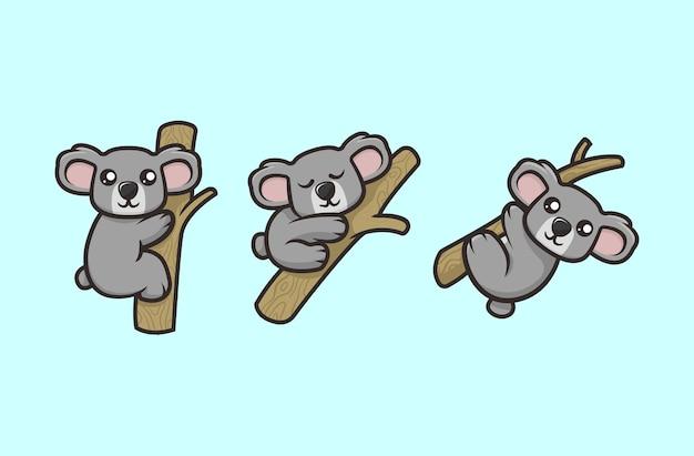 Conjunto de plantillas de vector de ilustración de diseño de mascota de koala lindo