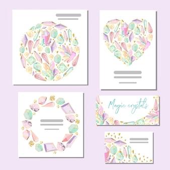 Conjunto de plantillas de vectores tarjetas con cristales y gemas.
