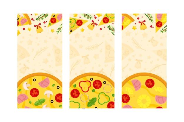 Conjunto de plantillas verticales con pizza navideña, ramas de abeto y cascabeles.