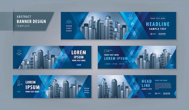 Conjunto de plantillas web de diseño de banner abstracto, banner web de encabezado horizontal