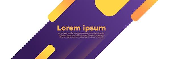 Conjunto de plantillas web de diseño de banner púrpura amarillo abstracto. banner de web de encabezado horizontal. plantilla de fondo de patrón de banner de diseño gráfico abstracto de vector.