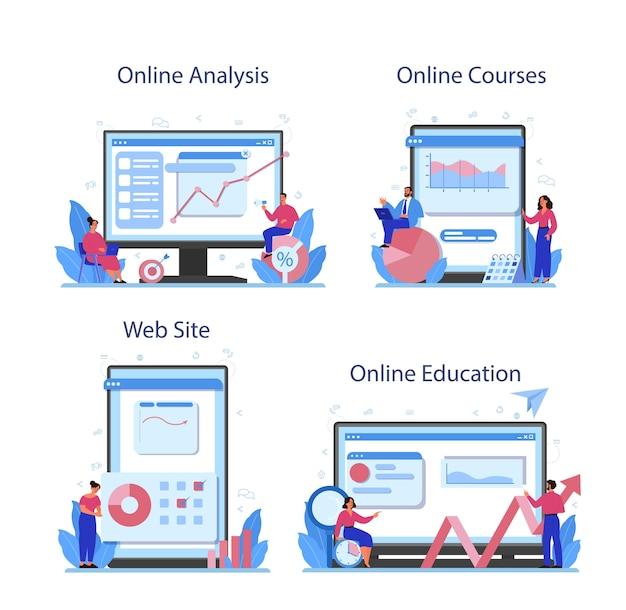 Conjunto de plataforma o servicio en línea de analista de sitios web